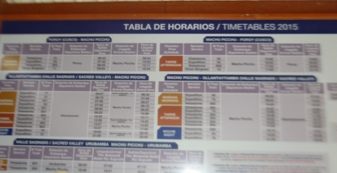 Quadro Horários Estação Trem Ollantaytambo - Marilia Boos Gomes.